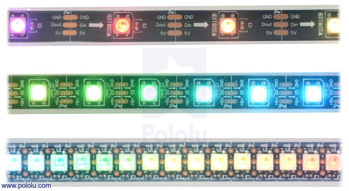 Pololu Addressable Rgb 60 Led Strip 5v 2m Ws2812b Wiring 12v Leds In Series Side Of The Based Strips Showing 30 M Top Middle And 144 Bottom