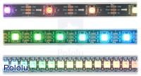 LED side of the WS2812B-based addressable LED strips, showing 30 LEDs/m (top), 60 LEDs/m (middle), and 144 LEDs/m (bottom).
