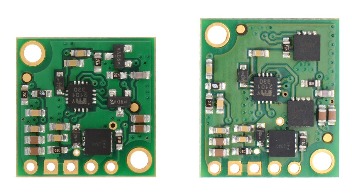 Pololu New Product 5v 5a Step Down Voltage Regulator D24v50f5 More Mosfet Circuits Regulators Comparison Of The D24v25fx Left And D24v50fx Showing Larger Mosfets On Higher Power Board