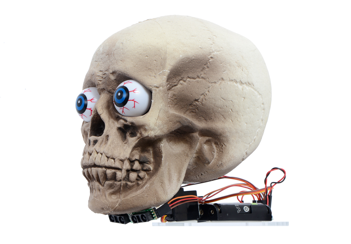 motion tracking skull halloween prop