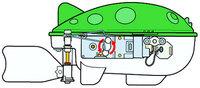 Tamiya 71114 Mechanical Blowfish rotating movement diagram, side view.