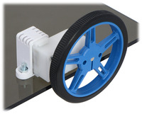 60×8mm Pololu wheel and offset mini plastic gearmotor mounted with a tall mini plastic gearmotor bracket (with spacer).