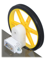 80×10mm Pololu wheel and offset mini plastic gearmotor mounted with a wide mini plastic gearmotor bracket.