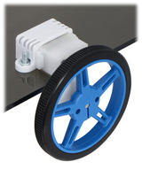 60×8mm wheel and offset mini plastic gearmotor mounted with a wide mini plastic gearmotor bracket.