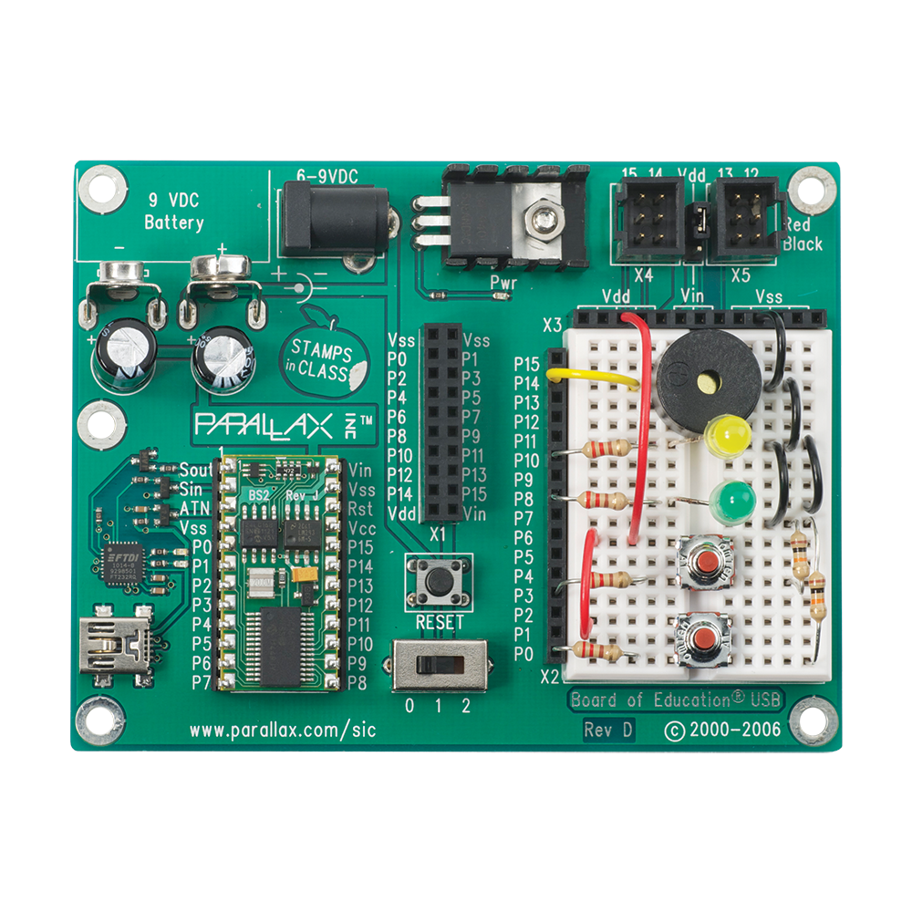 Pololu Parallax Basic Stamp Discovery Kit Usb 27807 Blink Electronics Circuit Components Printed Boards Project On A Board