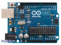 Arduino Uno R3, top view.