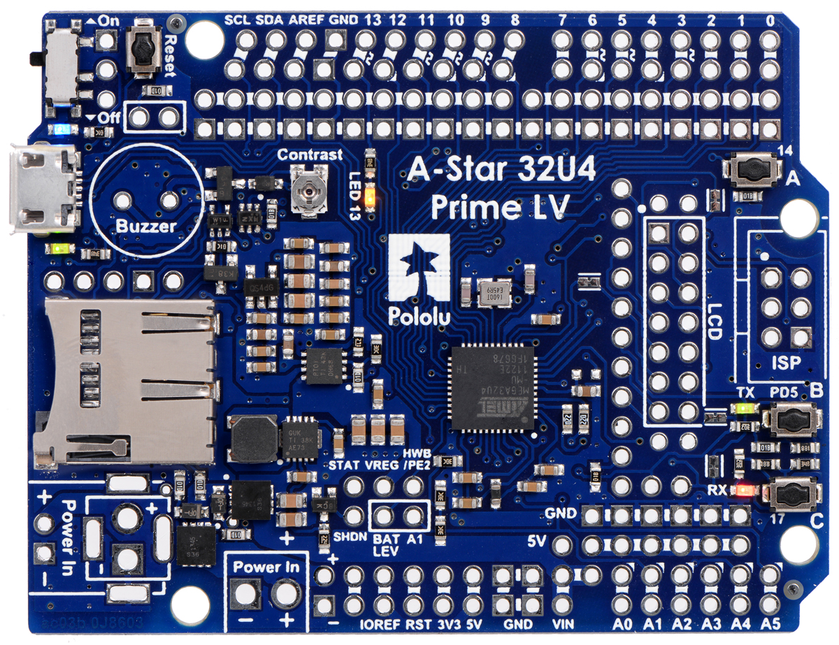 Pololu A Star 32u4 Users Guide Select Rating Give Computer Circuit Board 1 5 Including The Usb Connector Pushbuttons And Power Switch Except For Microsd Card Level Shifters Which Are Not Populated