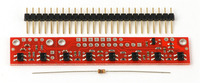 """QTR-8A reflectance sensor array with included 25-pin 0.1"""" header strip and 100Ohm through-hole resistor."""