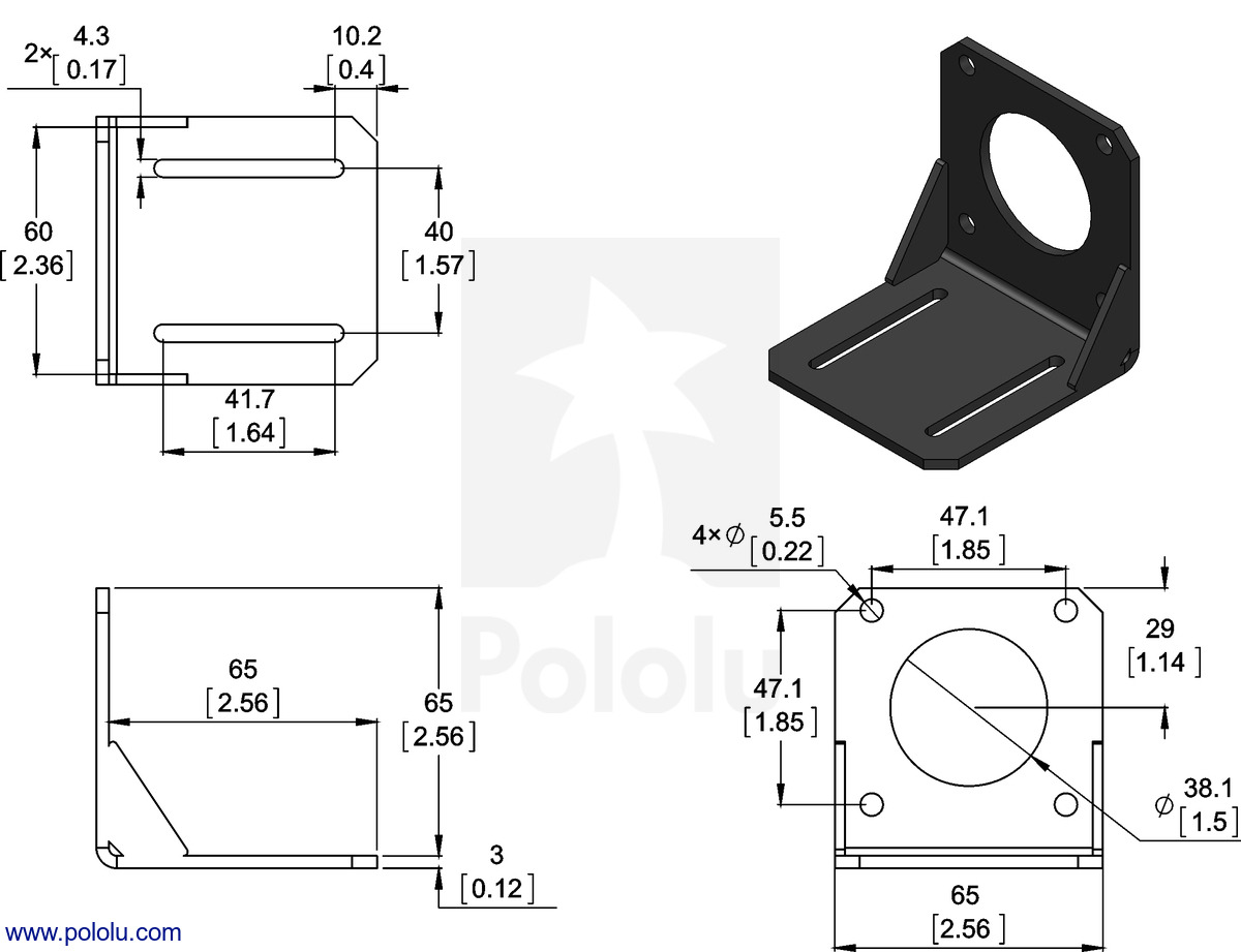 Pololu Steel L Bracket For Nema 23 Stepper Motors