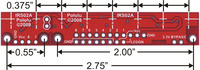 QTR-8A and QTR-8RC reflectance sensor array dimensions.