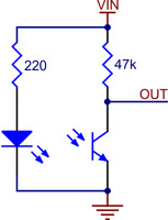 QTR-1A reflectance sensor schematic diagram.