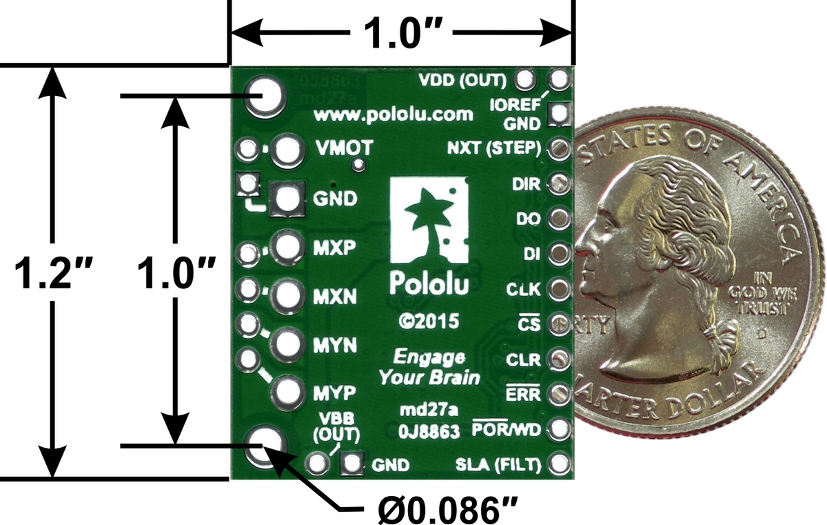 Pololu Amis 30543 Stepper Motor Driver Carrier Control Circuit Proteus Simulation Pic Assembly Source Bottom View With Dimensions