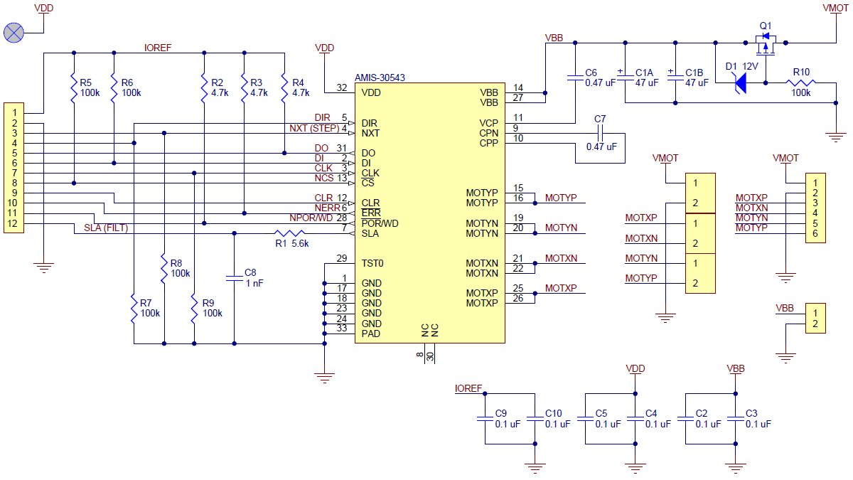 AMIS-30543 stepper motor driver carrier schematic diagram.