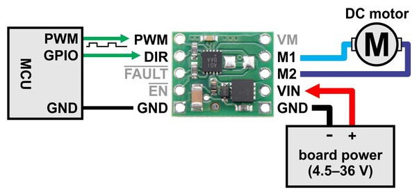 pololu max14870 single brushed dc motor driver carrier dc motor minimal wiring diagram for connecting a microcontroller to a max14870 single brushed dc motor driver carrier