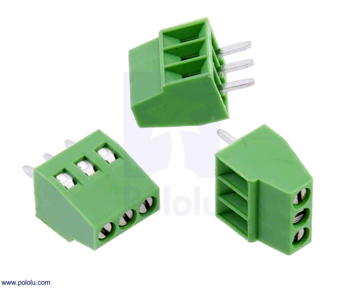 Pololu - Screw Terminal Block: 3-Pin, 0.1″ Pitch, Side Entry (3-Pack)