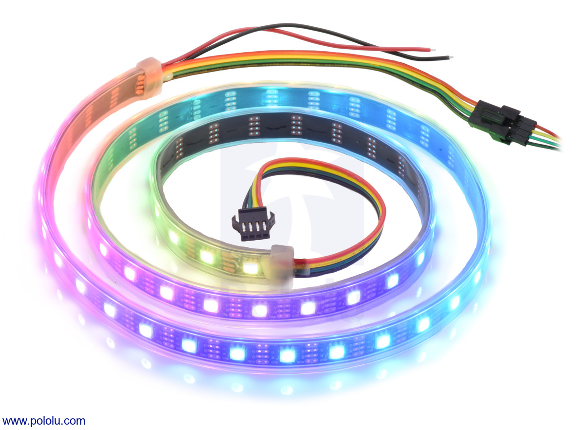 Pololu Addressable Rgb 60 Led Strip 5v 1m Apa102c Standard 7 Pin Wiring The Auxiliary In Middle Is Setup From Details For Item 2555