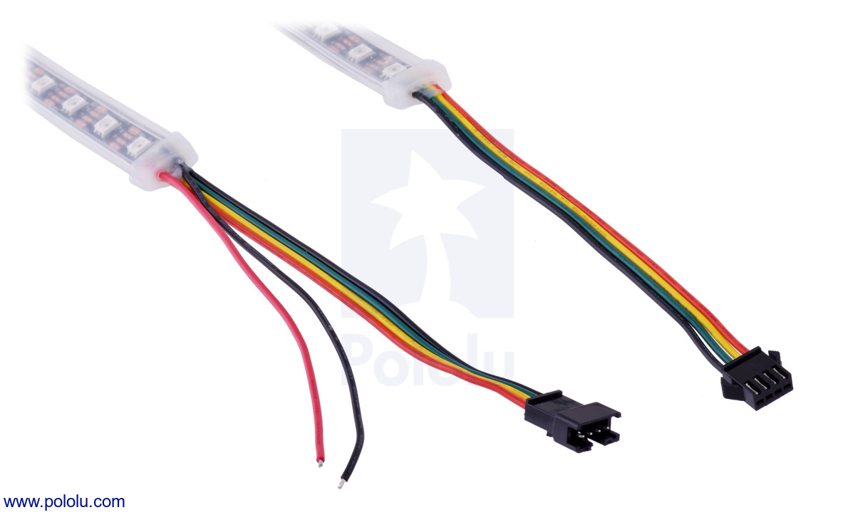 Pololu Addressable Rgb 150 Led Strip 5v 5m Apa102c 4 Pin Rocker Switch Wiring Diagram The Connectors And Power Wires For Our Sk9822 Strips On Left Is Input End Of Right Output