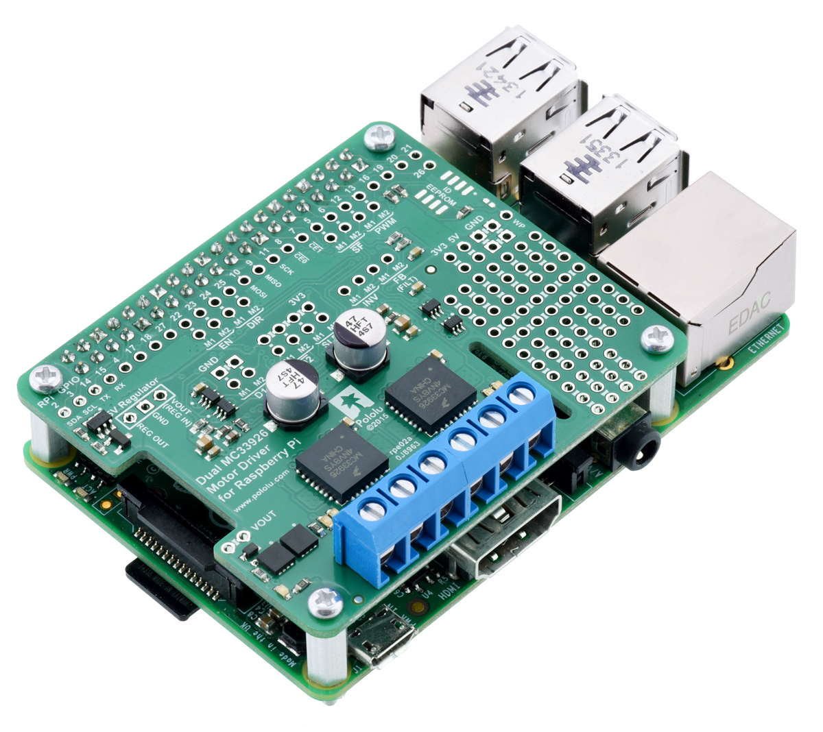Pololu Dual MC33926 Motor Driver for Raspberry Pi (Partial Kit)