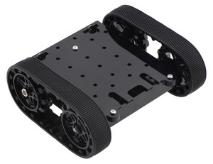 Pololu Zumo chassis kit, assembled top view (shown with motors).