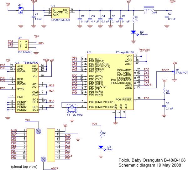 Pololu Baby Orangutan B-48/B-168/B-328 schematic diagram.