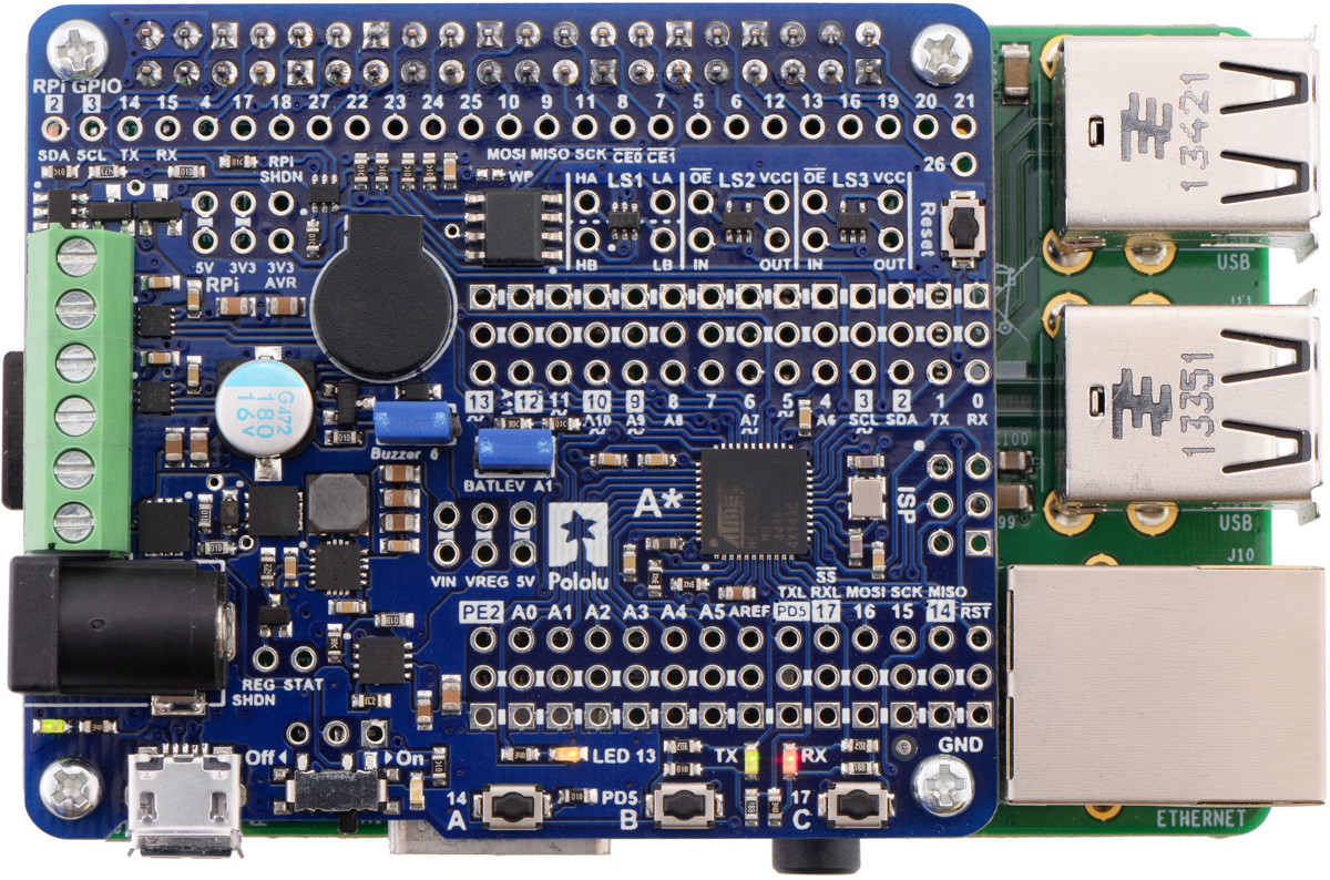 Pololu A Star 32u4 Robot Controller Users Guide Microcontrollers Within These Pages Youll Find Circuits About The Avr 38 Raspberry Pi Interface And Level Shifters