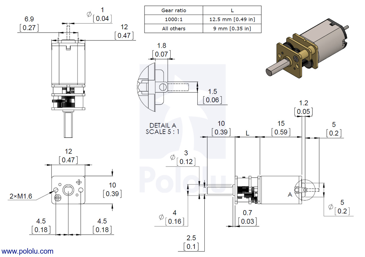 Pololu 501 Micro Metal Gearmotor Hp 6v 2006 Dodge Charger 2 7 V6 Engine Diagram Dimensions Of Versions With Precious Brushes Lp Mp And