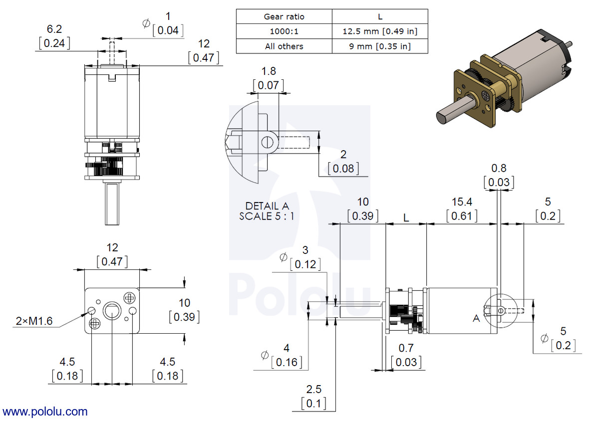 200RPM @ 6V 150:1 Micro Metal Gearmotor HP 6V with Extended Motor Shaft 1.6A