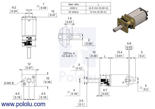 10:1 Micro Metal Gearmotor HP 6V