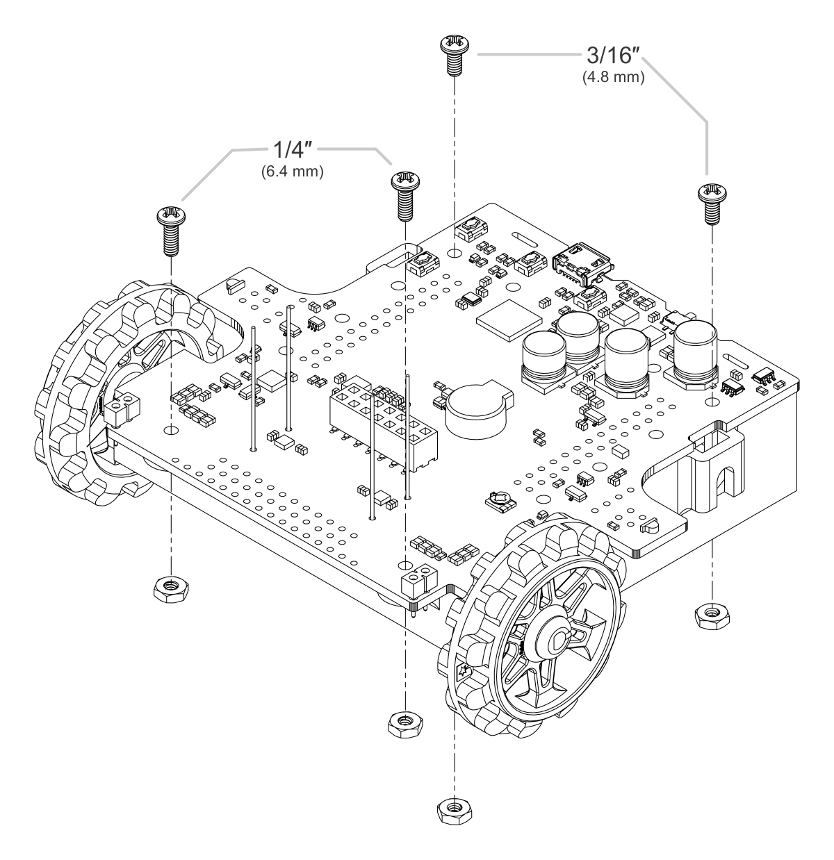Pololu Zumo 32u4 Robot Users Guide Pin8 Powers The Two Motors And Should Be Connected To Longer Screws Are Intended For Use In Front Holes Near So That