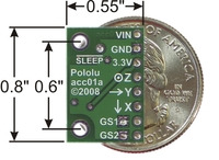MMA7260QT 3-axis accelerometer, bottom silkscreen with quarter for size reference.