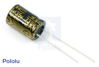 Capacitor: 330uF, 35V, Electrolytic, Radial