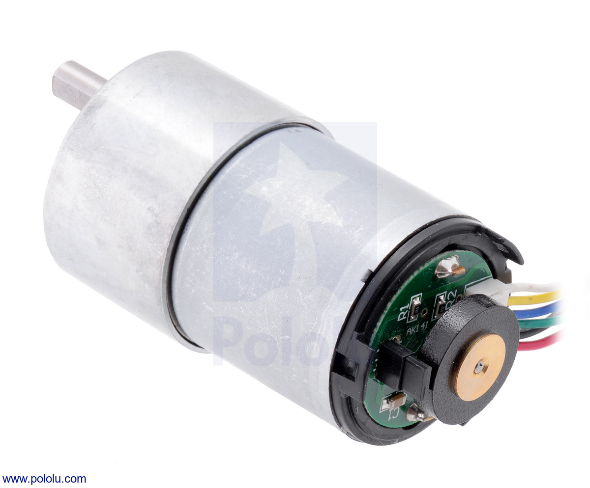 Pololu 191 Metal Gearmotor 37dx52l Mm With 64 Cpr Encoder No End Motor Wiring Diagram 19 37d Cap Removed