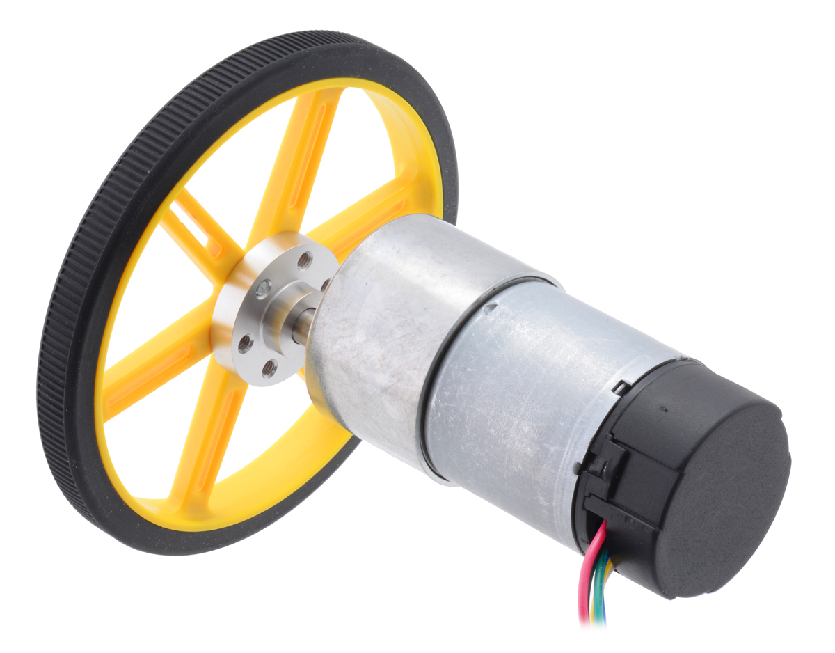 Pololu 1001 Metal Gearmotor 37dx73l Mm With 64 Cpr Encoder Circuit Diagram Of 8 To 3 37d Connected A 9010mm Wheel Universal Mounting Hub