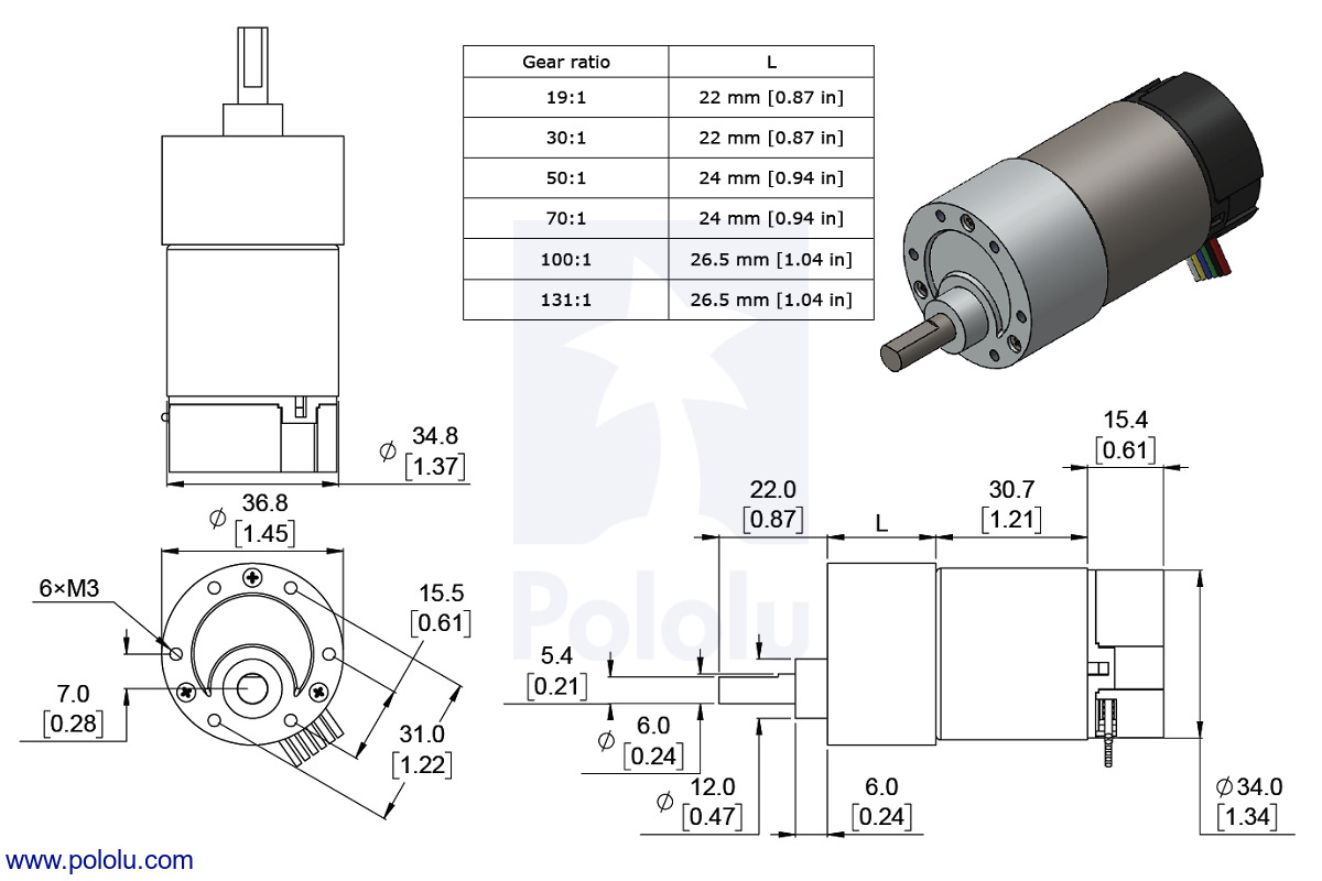 Dimensions of the 37D mm metal gearmotor with 64 CPR encoder. Units are mm  over [inches].
