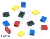 "0.100"" (2.54 mm) shorting blocks in assorted colors."