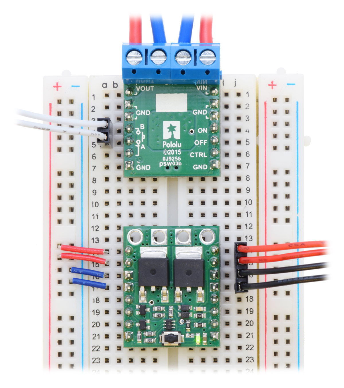 Pololu Big Pushbutton Power Switch With Reverse Voltage Protection Mp Circuit Using Non Latching Push Button Switches Relays Control Included Hardware