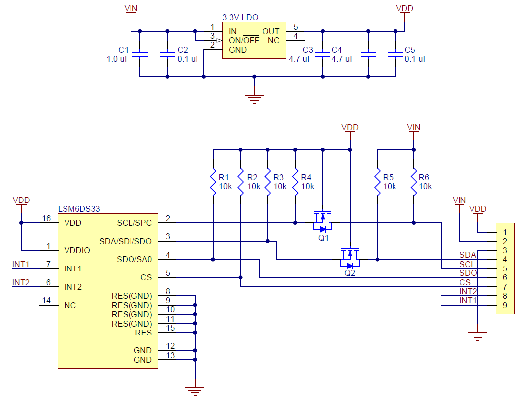Pololu Schematic Diagram Of The Lsm6ds33 3d Accelerometer And Gyro Circuit Voltage Regulator Carrier With