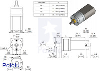 Dimensions of the Pololu 20D mm metal gearmotors.  Units are mm over [inches].