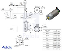 Dimensions of the Pololu 25D mm metal gearmotors.  Units are mm over [inches].