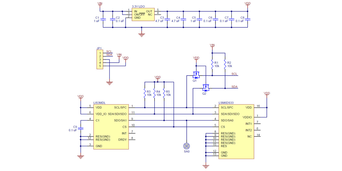 Pololu     Schematic       diagram    of the MinIMU9    v5    Gyro  Accelerometer  and Compass  LSM6DS33 and