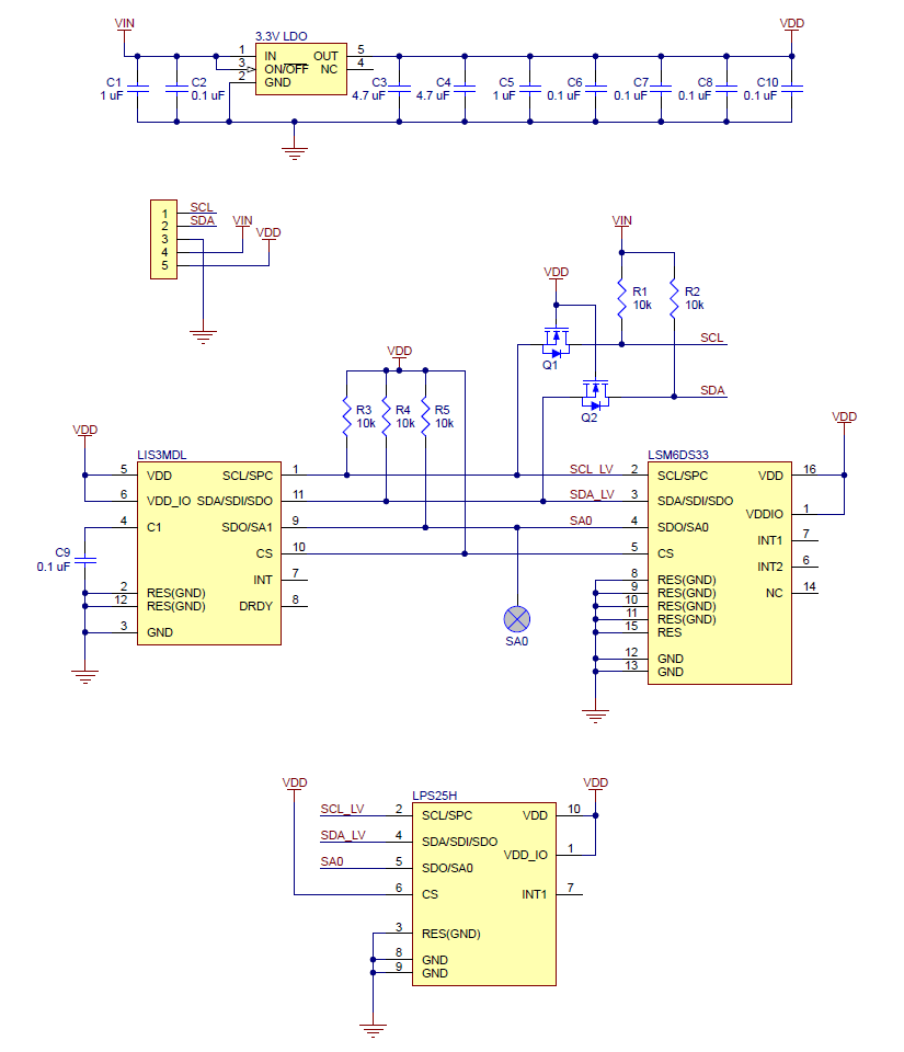 Pololu Altimu 10 V5 Gyro Accelerometer Compass And Altimeter Sensor Schematic Diagram