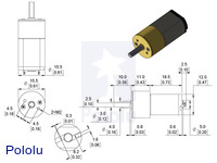 Dimensions of the 15.5Dmm metal gearmotors.  Units are mm over [inches].