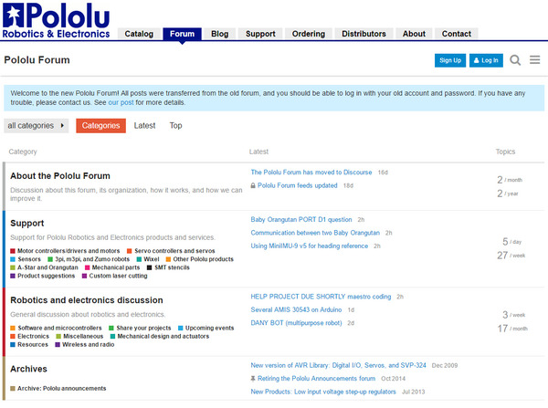 The Pololu Forum now uses Discourse