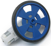 Solarbotics GMPW blue plastic wheel with molded tire and encoder stripes, mounted on a GM9 gearmotor.