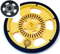 Solarbotics GMPW plastic wheel with molded tire; encoder stripes shown colored in.