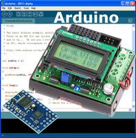 Arduino IDE with the Orangutan LV-168 and Baby Orangutan B superimposed over it.