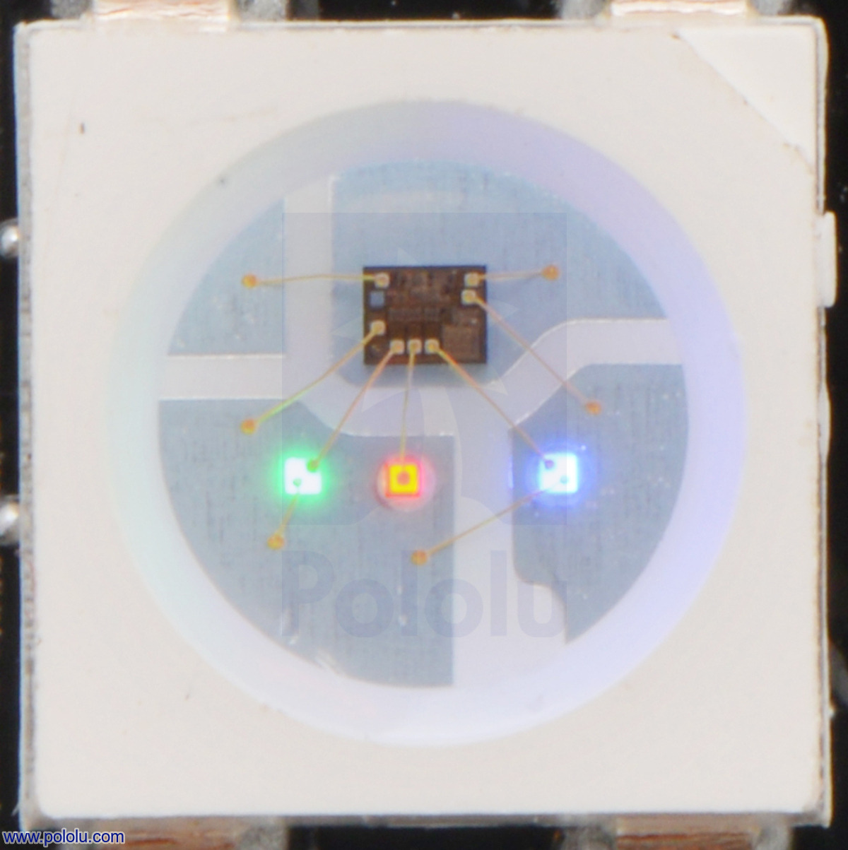 Pololu Addressable Rgb 120 Led Strip 5v 2m Sk6812 Display Driver Circuit Design With Total Positive Based On Close Up Of An The Red Green And Blue Leds At Their Dimmest Setting