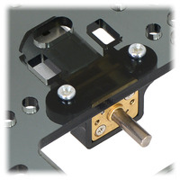 Micro metal gearmotor mounted to a piece of acrylic with black mounting bracket version.