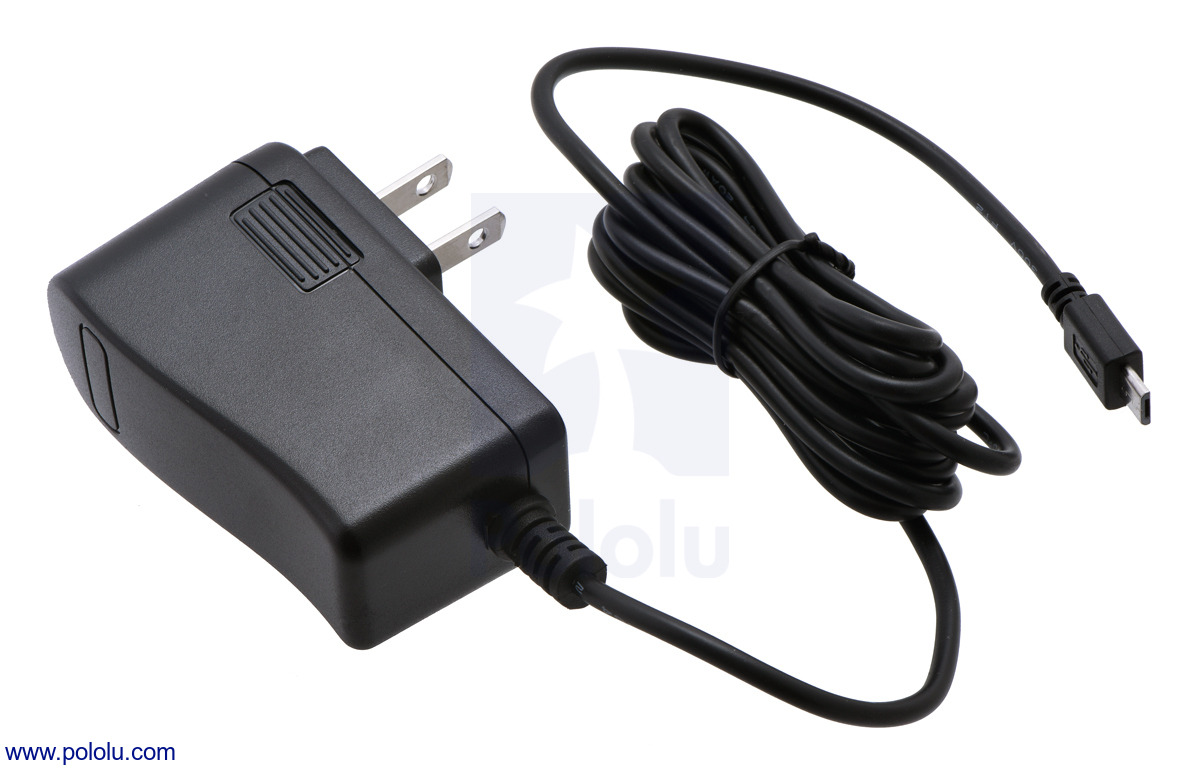 Pololu Wall Power Adapter 525vdc 25a 20awg Microusb Cable Supply Circuit Regulated Votlage Micro Switching