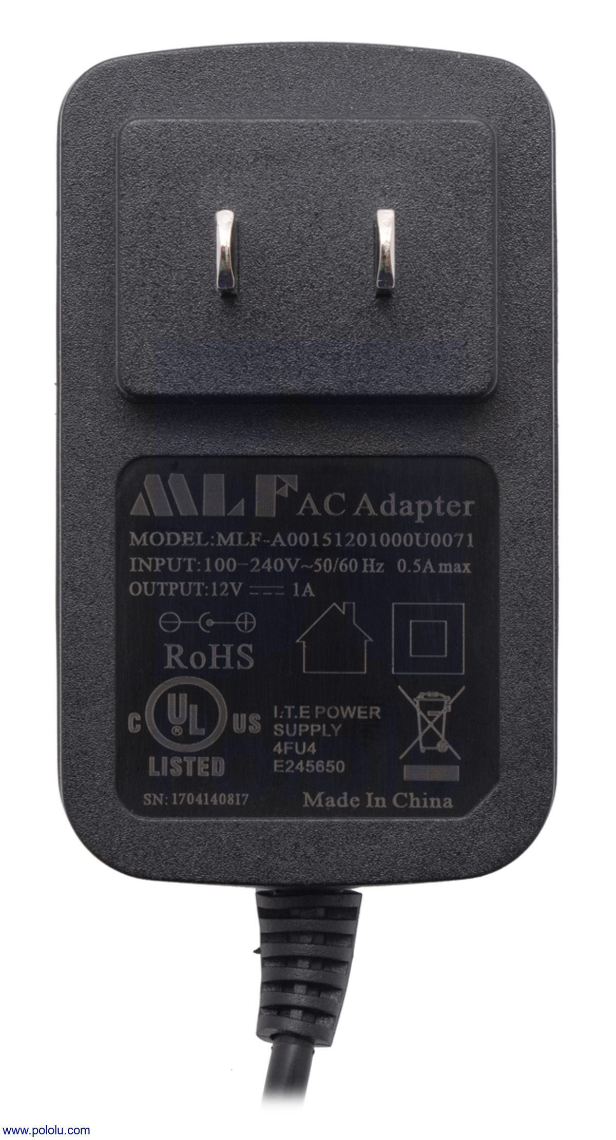 Pololu - Wall Power Adapter: 12VDC, 1A, 5 5×2 1mm Barrel Jack